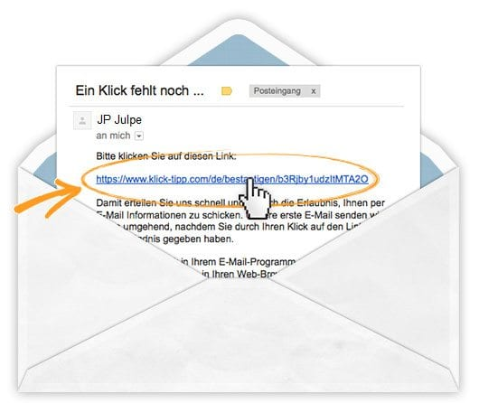 Bestätigungs eMail - ein Klick fehlt noch