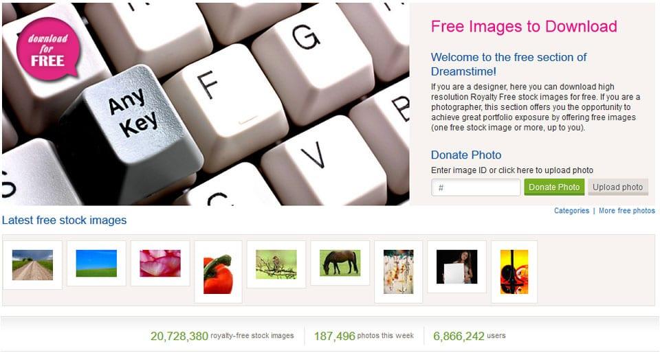 Dreamstime bietet in einer eigenen Rubrik auch kostenlose Bilder an
